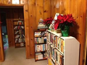 Here are the temporary bookshelves I had lining the walls