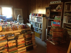 This is a fun shot of the guest room with all the books crammed in to make room for construction