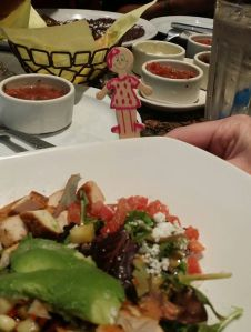Flat Emily enjoying her salad!