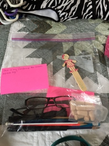This was before I left home. My little stick friend had to wait in the hotel room, along with my pink 3x5 note cards. The glasses, earbuds, and pencils were all allowed.