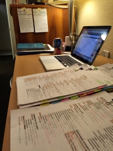 Little hotel desk. Somewhat similar to little home desk, only few marks on the surface from my forehead.